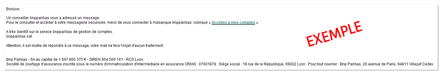 Exemple de phishing